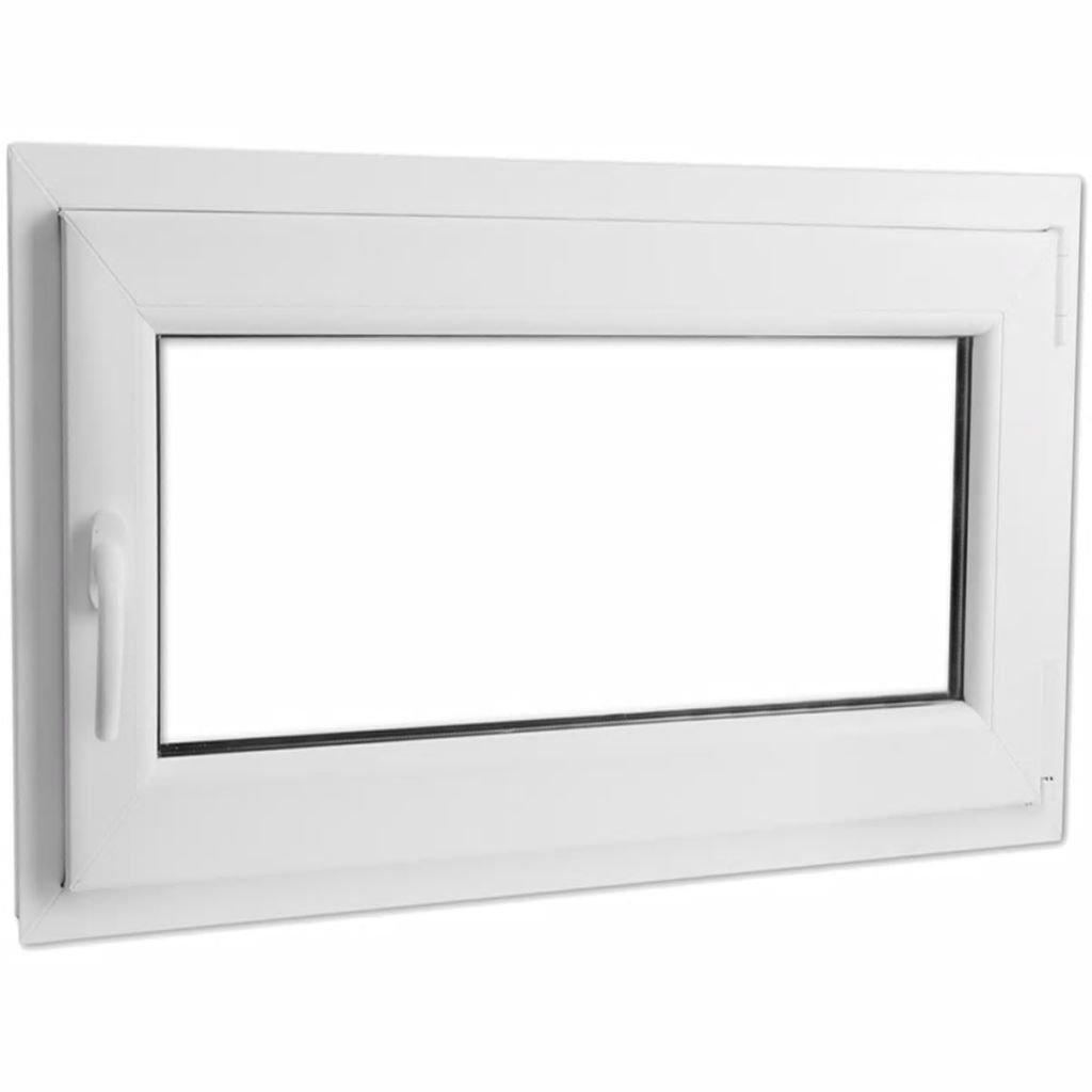 vidaXL Fenêtre oscillo-battante en PVC Double vitrage avec poignée à gauche 1100x700 mm