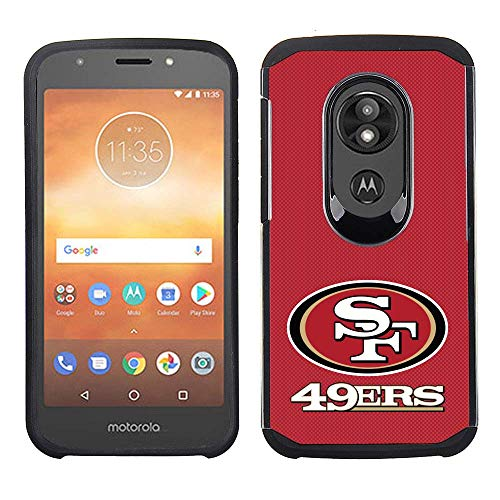 (Prime Brands Group Cell Phone Case for Motorola Moto E5 Cruise/E5 Play - NFL Licensed San Francisco 49ers - Red Textured Back Cover on Black TPU Skin)