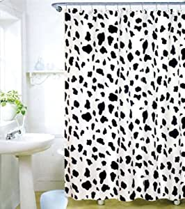 Cow Spot Print Bathroom Shower Curtain And Hook Set Home Kitchen