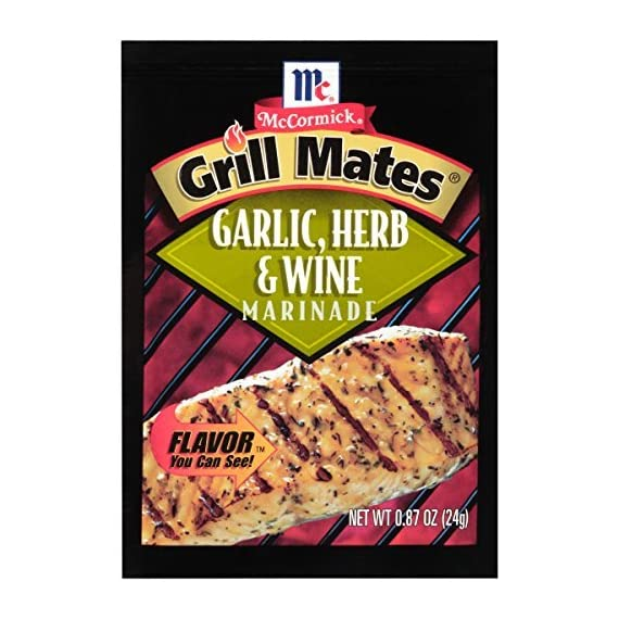 McCormick Grill Mates Garlic, Herb & Wine Marinade Mix, 0.87 oz 1 Mediterranean-inspired blend of garlic, savory herbs and white wine Dry marinade mix America's #1 grilling seasoning