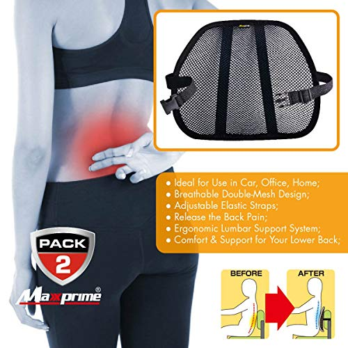Lumbar Support, Maxxprime Mesh Back Cushion 2 Pack Lower Back Support, Double Mesh Lumbar Cushion Air Flow Breathable Back Support Cushion for Use in Car Home and Office by MAXXPRIME (Image #3)