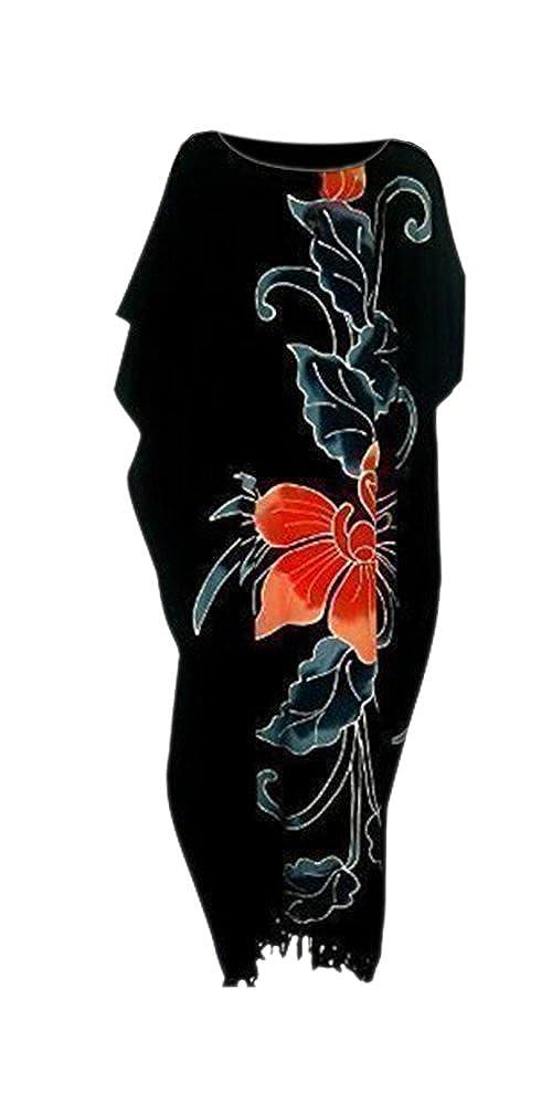 Cool Kaftans - Atemberaubender Strand Kaftan Orchidee Schwarz Sehr Weicher Stoff