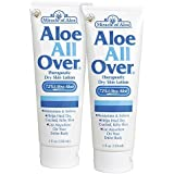 Aloe All Over 4 oz - 2 Pack BEST Skin Lotion For Moisturizing Severe Dry Flaky Itchy Skin Legs Arms Hands Glowing Baby-Soft Skin