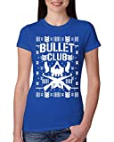 Bullet Club | Wrestling Bone Soldier | Womens Ugly Christmas Junior Fit Tee Graphic T-Shirt, Royal, Medium
