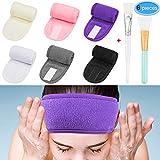 Spa Headband Hair Wrap 6 Colors, EAONE Spa Facial Headband Hair Towel Wrap Washable Magic Tape Make Up Headband for Women Girls Sports with 2 Facial Mask Brush