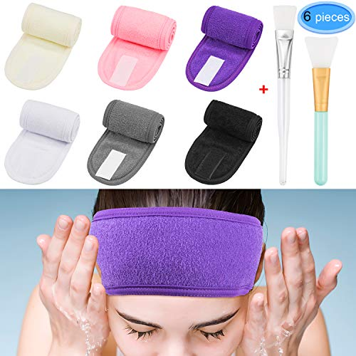 EAONE 6 Pack Spa Headband Hair Wrap Non-slip Washable hair Towel Wrap Magic Tape Makeup Headband for Women Girls Sports with 2 Facial Mask Brush, 6 Colors ()