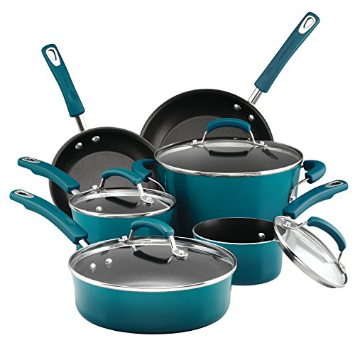 Rachael Ray Classic Brights Hard Porcelain Enamel Nonstick Cookware Set, 10-Piece, Marine Blue