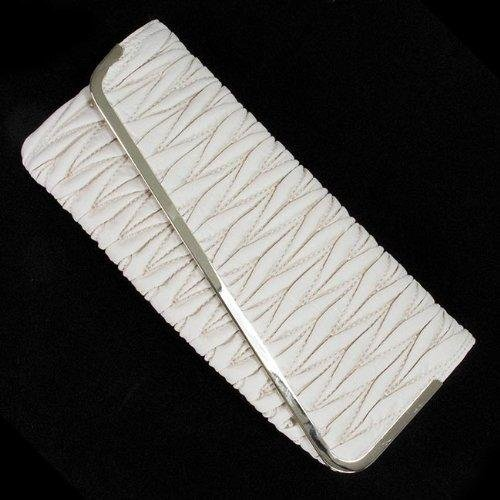 Ivory Leather Pleated Clutch Handbag