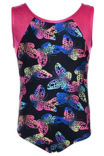 [Dancina Girls Gymnastics Leotard /Swimsuit New Multiple Fantasy Prints 6 Butterflies] (Hottest Cheerleader Outfits)