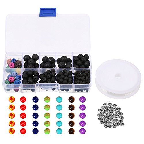 Bememo Lava Bead Kit, 295 Lava Rock Stone Beads 35 Chakra Beads with 40 Antique Silver Spacer Beads and 1 Crystal String