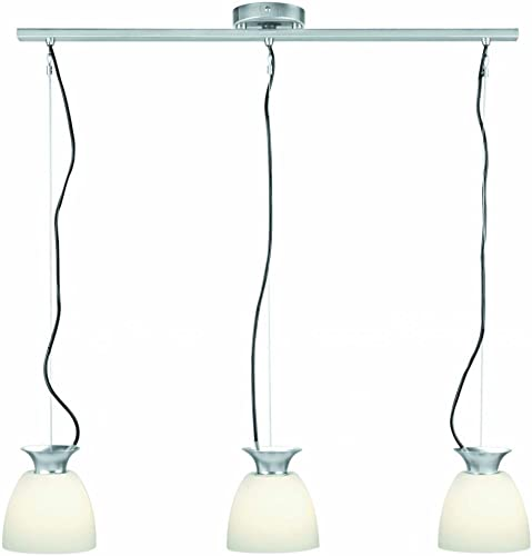 Lite Source LS-14423PS FRO Herman 3-Lite Pendant Lamp, Polished Steel with Frosted Glass Shade
