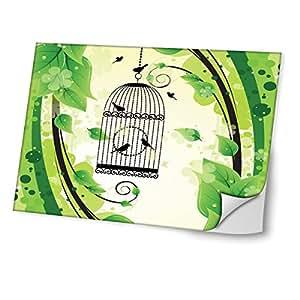 Jaulas de Pájaros 10009, Diseño Mejor Pegatina de Vinilo Protector con Efecto Cuero Extraíble Adhesivo Sticker Skin Decal Decorativa Tapa con Diseño Colorido para Portátil 19''.