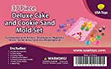 Sand Molds Kit w/ Mess Free Tray (37 pcs) - Cake and Cookie Themed Set - Compatible with Kinetic Sand, Sands Alive, Brookstone, Waba, Moon Sand and Other Molding Play Sand Brands - (Sand NOT included)