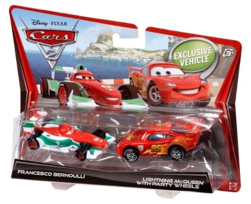 Cars 2 Francesco Bernoulli and Lightning McQueen Diecast Vehicle Two-Pack Mattel X3162 Movie & TV
