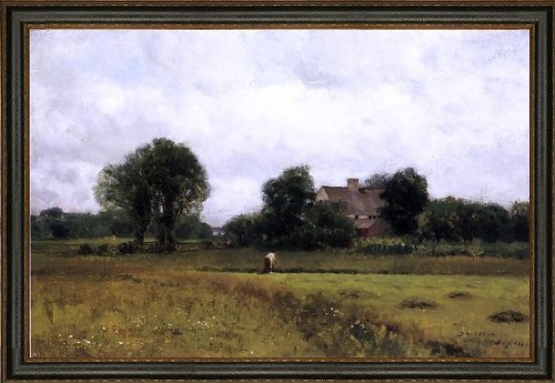 "Art Oyster Dwight W Tryon Glastonbury Meadows - 18.05"" x 27.05"" Premium Canvas Print with Black Leather Look Frame"