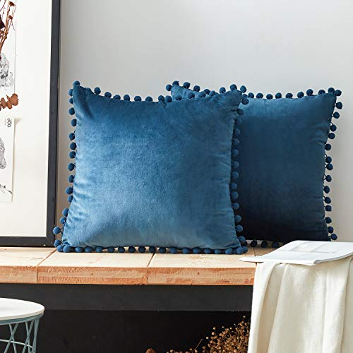 Top Finel Square Decorative Throw Pillow Covers Soft Velvet Outdoor Cushion Covers 18 X 18 with Balls for Sofa Bed, Set of 2, Navy