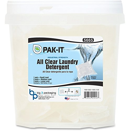 Big 3 Packaging LLC All Clear Laundry Detergent, 100/PK, Clear by Big 3 Packaging LLC