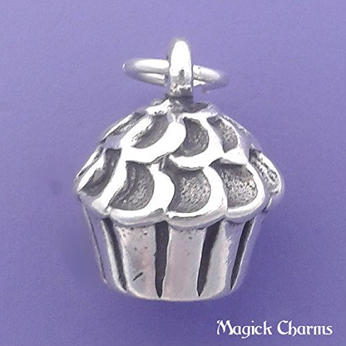 (925 Sterling Silver 3-D Cupcake Charm Muffin Dessert Pendant Jewelry Making Supply, Pendant, Charms, Bracelet, DIY Crafting by Wholesale Charms)