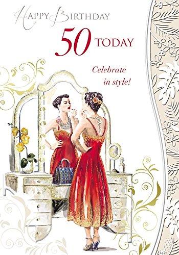Edad 50 hembra Tarjeta de cumpleaños - Mujer en tocador ...