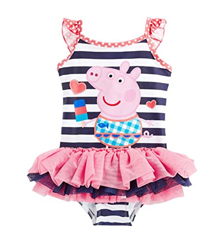 Price comparison product image Sidney Girls Summer Peppa Pig One-piece Bikini Swimsuit (4t, Black striped)