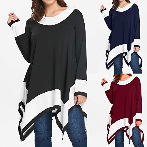 Irregular Hem Blouse Women Plus Sleeve Patchwork