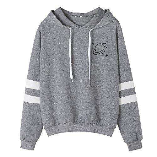 Honhui Womens Planet Printing Sweatshirt Color Block Stripe Long Sleeve Pullover Hoodies ()