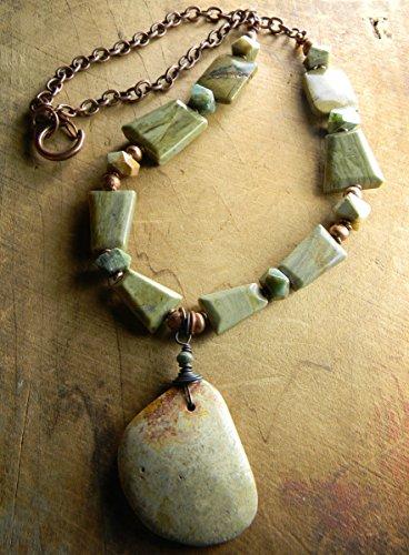 Fossil Coral Pendant (Fossil Coral Pendant Long Necklace Green Jasper Rustic Copper)