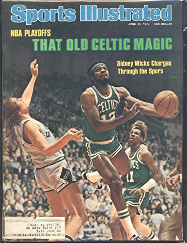 LLUSTRATED BASKETBALL NBA PLAYOFFS THAT OLD CELTIC MAGIC SIDNEY WICKS CHARGES THROUGH THE SPURS MID GRADE (1977 Sports Illustrated Magazine)