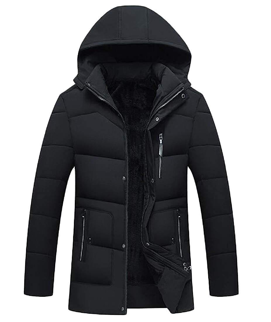 Wofupowga Men Coat Fleece Dwon Hooded Outwear Thick Winter Parkas Jackets