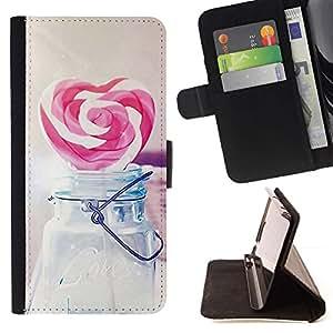 For Sony Xperia M5 E5603 E5606 E5653 Case , Amor del corazón del caramelo del inconformista- la tarjeta de Crédito Slots PU Funda de cuero Monedero caso cubierta de piel