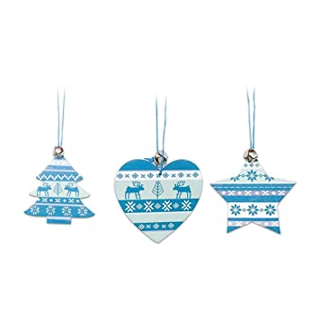 Feiliandajj 3pcs Nordischen Stil Blau Weisse Holzern Mini Glocke