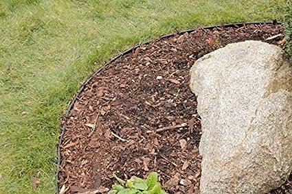 Beeteinfassung aus recyceltem Plastik 6 m, schwarz Einfache Montage Flexible Rasenkante Kunststoff mit runden Oberkante - Robustes Stay-in-Place Design Verhindert das Durchwachsen von Rasen