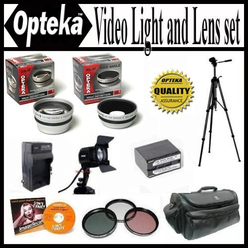 Opteka Ultimate 25PC Accessory Package For Canon Canon XH-A1s XH-G1s XL-H1a XL-H1s package Includes Extended Life BP-945 Replacement Battery and Charger, 0.45x Wide Angle Lens, 2.2X Telephoto Lens, 3 Piece HD Filter Kit, Travel Tripod, Professional Case and More