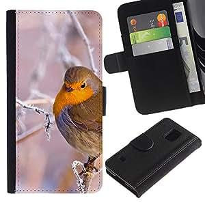 KingStore / Leather Etui en cuir / Samsung Galaxy S5 V SM-G900 / Rama de árbol del pájaro de la nieve del hielo invierno frío Puffy