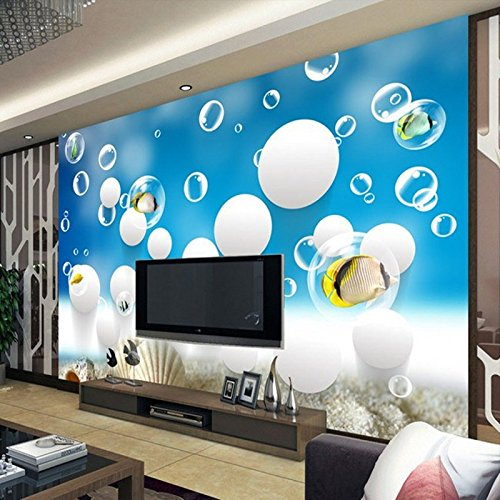 LHDLily 3D Wallpaper Mural Wall Sticker Thickening Three-Dimensional Underwater World Of Marine Fish Swimming Children'S Room 400cmX300cm by LHDLily