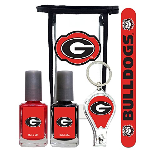 (Georgia Bulldogs Manicure Pedicure Set with 7-Inch Nail File, Nail Clippers, 2 Nail Polishes in Team Colors, and Toiletry Bag for the Whole Kit. NCAA Gifts and Gear for Women)