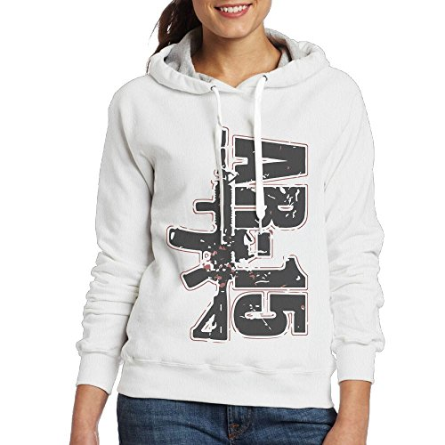 SmallTing Womens AR-15 Mil-Spec Tactical Rifle Fashion Running White Fleece L