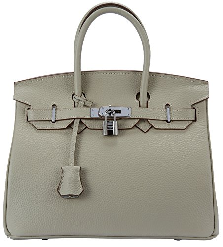 Cherish Kiss Women's Padlock Handbag Genuine Leather Top Handle Bag with Silver Hardware (30CM Silver Grey) by Cherish Kiss