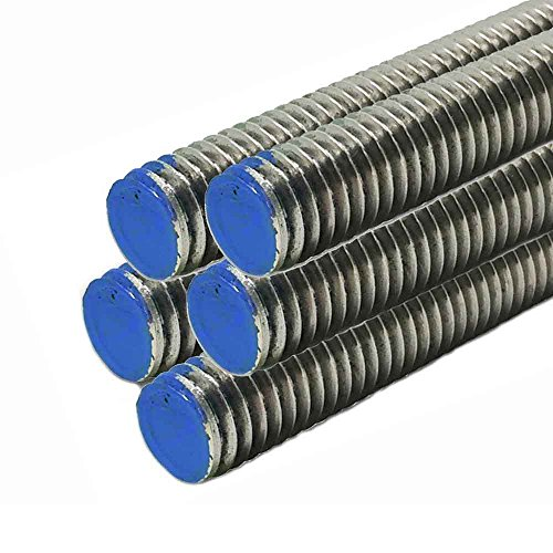 18-8 Stainless Steel Threaded Rod, Size: 1-8, Length: 36 inches (5 Pack)