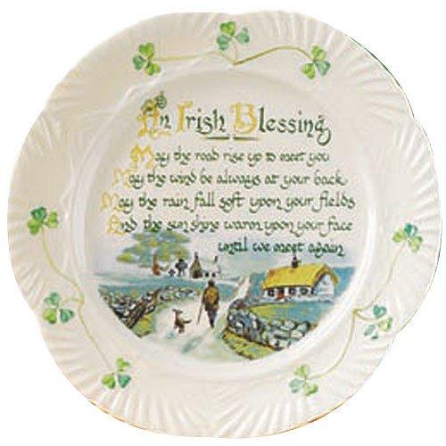 (Belleek Pottery Harp Irish Blessing Plate )