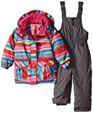 Rugged Bear Little Girls' Toddler Snowsuit with Striped Coat, Pink, 2T