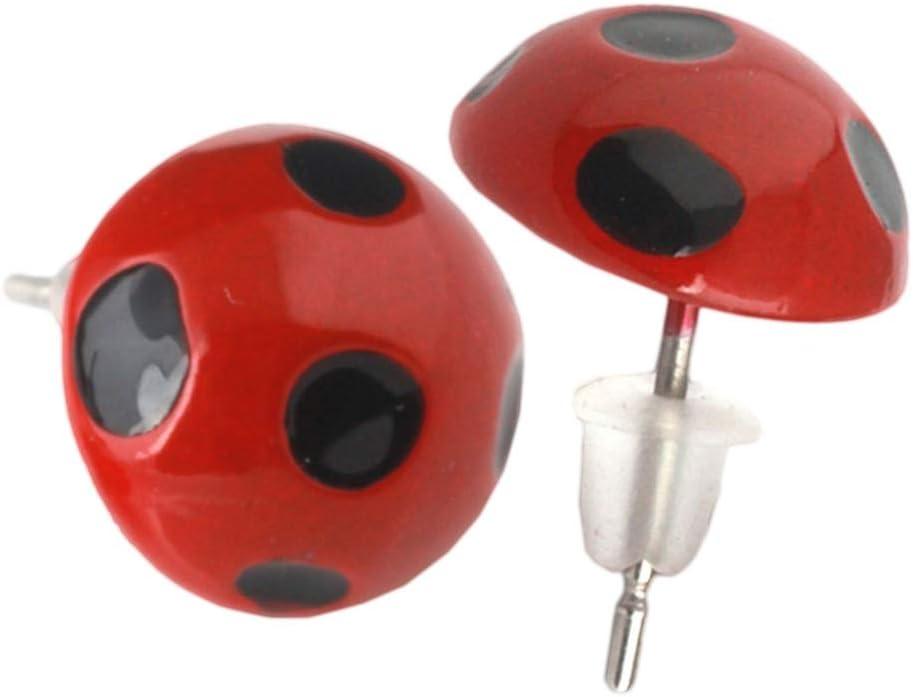 TENDYCOCO Pendientes Elegantes para Mujer Pendientes de Metal Ladybug Joyas de Metal (Rojo)