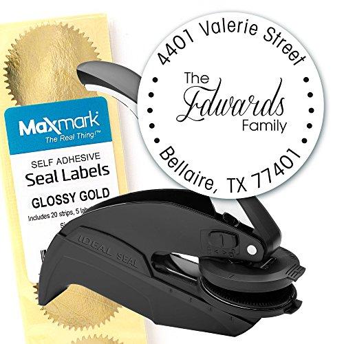 Custom Monogram Address Embosser - Personalized Round Seal with 50 Gold Seal Labels - Style EM021 (Custom Artwork Embosser)