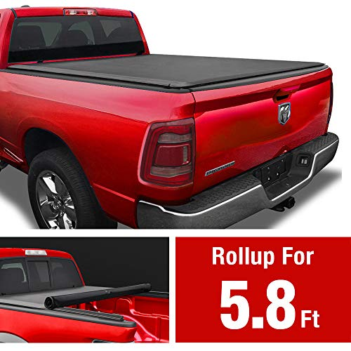 MaxMate Soft Roll Up Truck Bed Tonneau Cover for 2009-2019 Dodge Ram 1500 | 2019-2020 Classic Only | Fleetside 5.7' Bed | Without RamBox