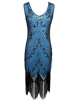 celeblink Women's V Neck 1920s Flapper Dress Sequin Embroidered Fringe Gatsby Dress