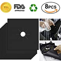Stove Burner Covers, Reusable Gas Range Protectors, Non-stick Stovetop Burner Liners for Kitchen/Cooking, 0.2mm Double Thickness, Dishwasher Safe, Easy to Clean, Pefect Mother's Day Gift (8 Pack)