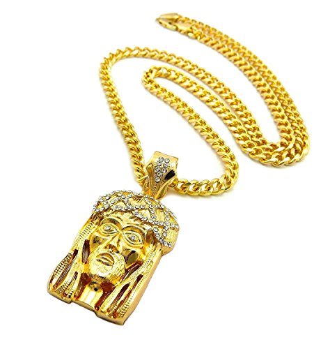 Mens Hip Hop Iced Out Gold God Jesus Face Pendant Cuban Link Chain Necklace (Gold Jesus Pendant Yellow)