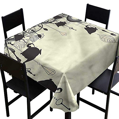 (Antique Washable Tablecloth Diamonds Forks Spoons Party Decorations Table Cover Cloth 50 x 50 Inch)