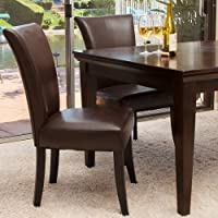 Home Stanford Brown Leather Dining Chairs (Set of 2)