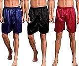 Mobarta Men's Satin Boxers Silk Sleepwear Underwear Shorts Lounge Beach Shorts (3 Pack(Blue+Black+Red), XX-Large(Waist...